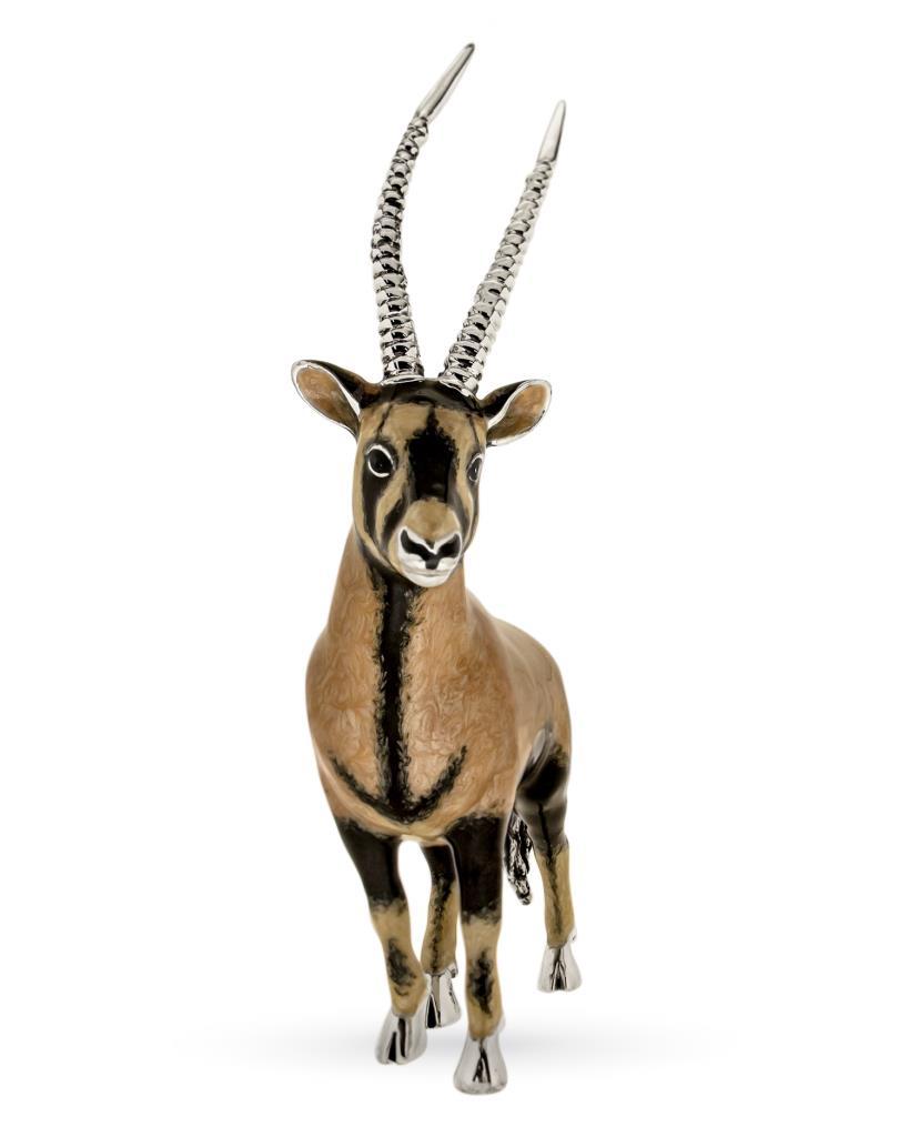 Orice gazzella soprammobile in argento e smalto  - SATURNO