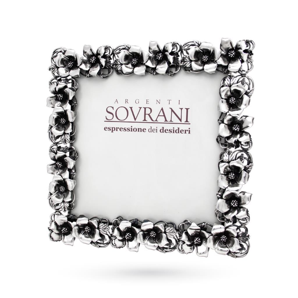 Cornice portafoto argento 18x18 cm fiori ibisco - SOVRANI
