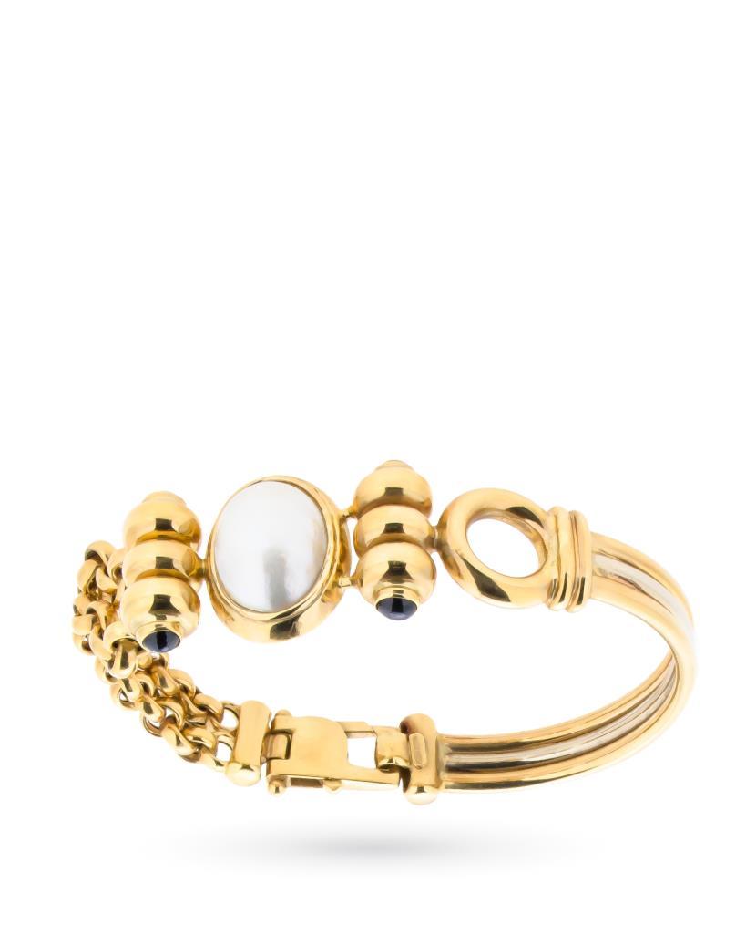 Bracciale in oro con perla mabè e zaffiri - CICALA