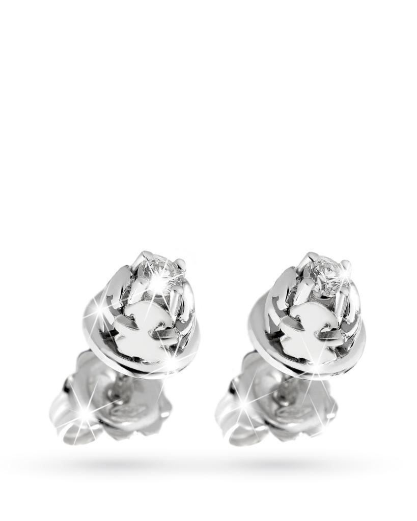 Orecchini Lebebe in oro bianco con bimba e diamanti - LE BEBE