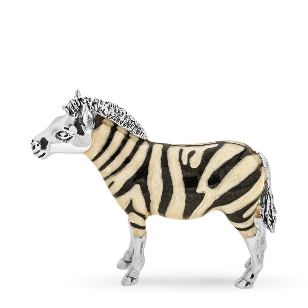 Zebra media soprammobile in argento e smalto - SATURNO
