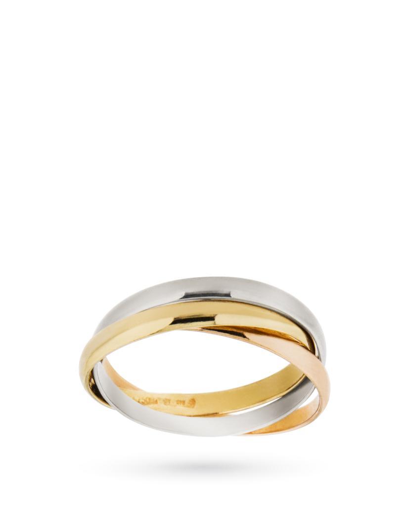 Tre fedi intrecciate in oro bianco giallo e rosa - UNBRANDED