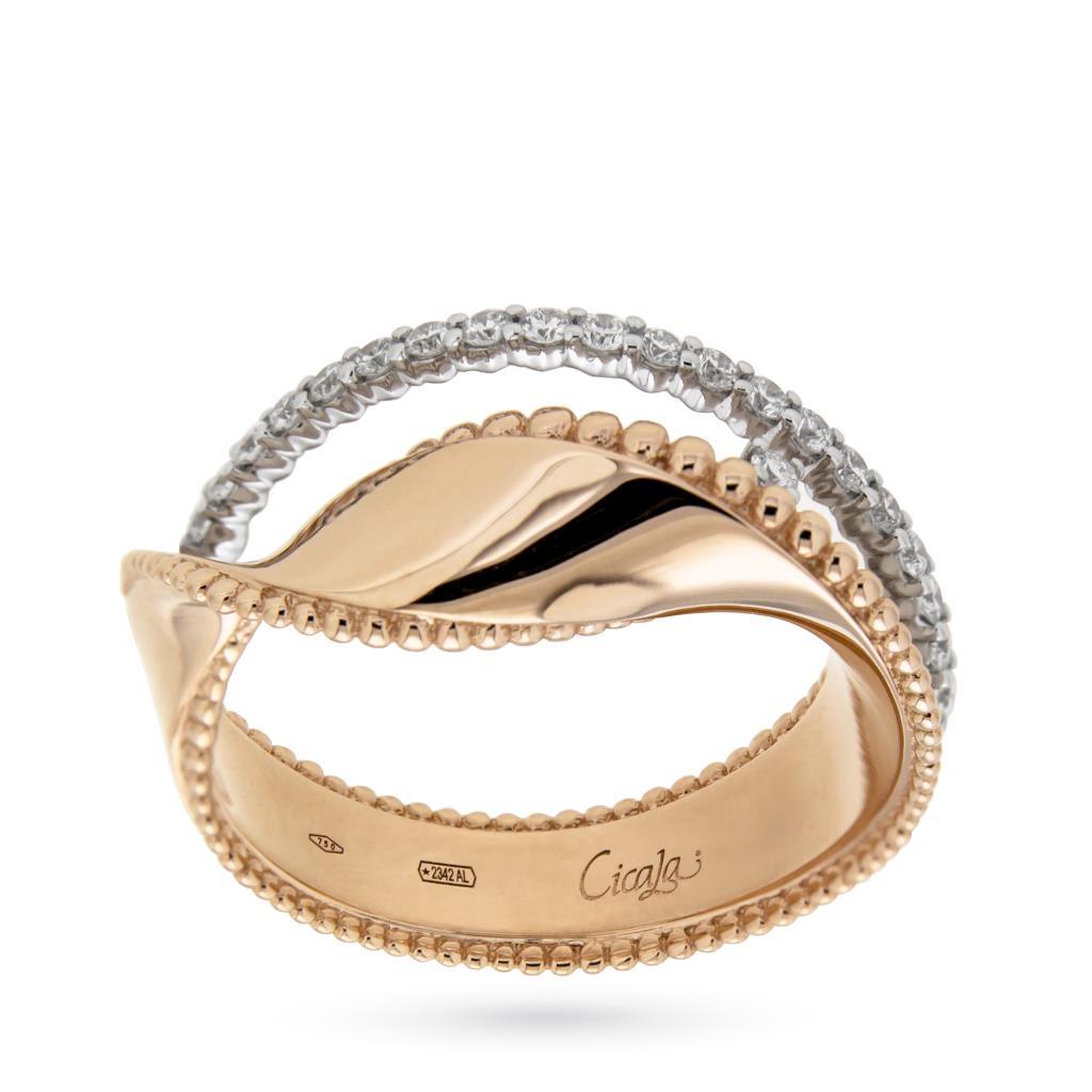 Anello a fascia ondulata in oro rosa e diamanti - ORO TREND