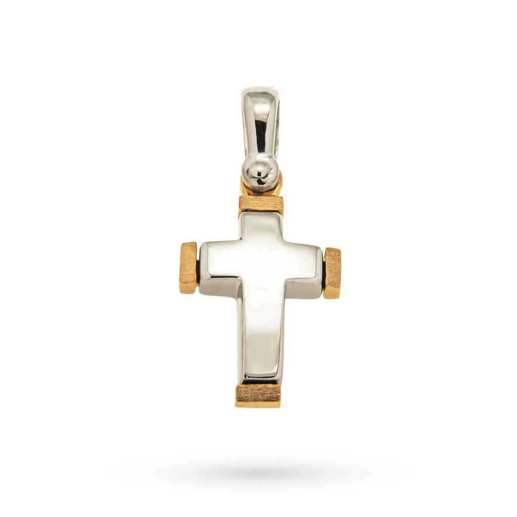 Ciondolo croce in oro bianco e rosa 18tk  - CICALA