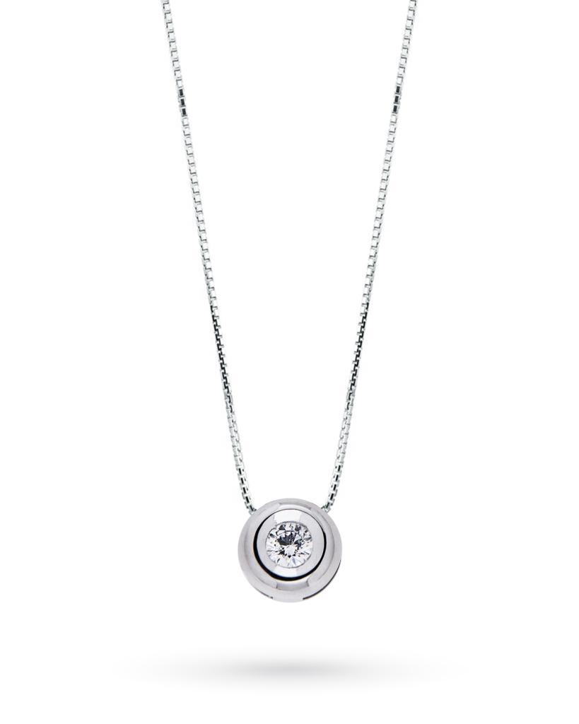 Girocollo punto luce rotondo con diamante taglio brillante 0,08ct G VS - CICALA
