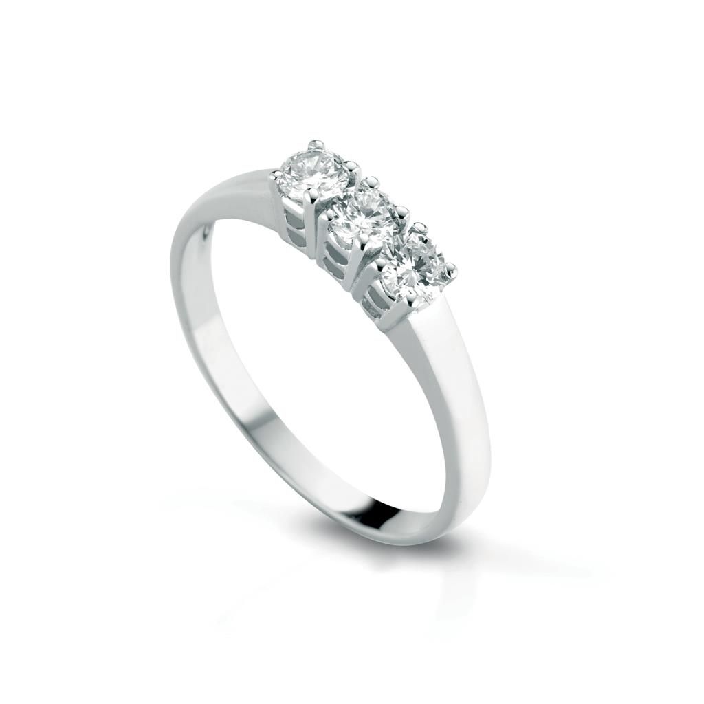 Trilogy ring gold with diamonds 0,45ct - LELUNE