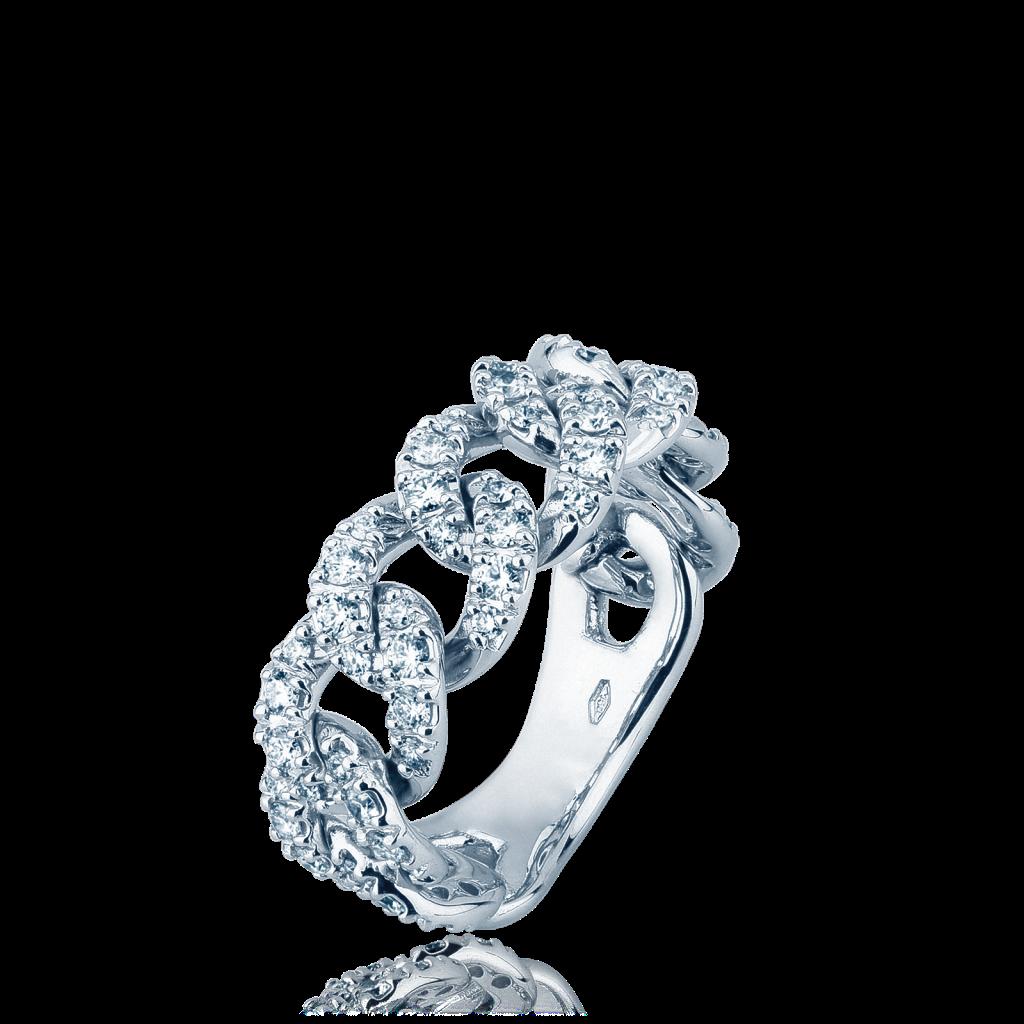 Anello a catena morbida in oro con diamanti - MIRCO VISCONTI