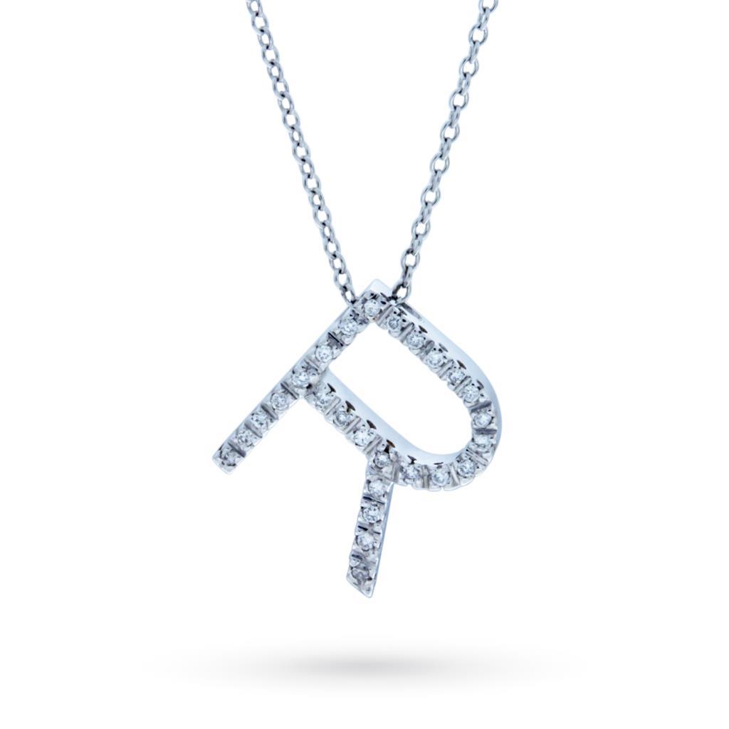 Collana con iniziale R in oro bianco con diamanti - CICALA