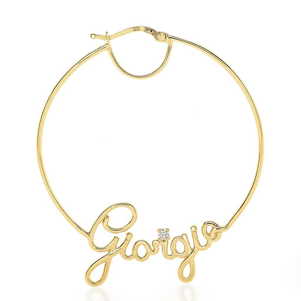 Orecchino singolo con nome GIORGIA filo oro giallo e diamante - GOVONI
