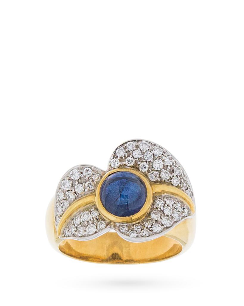 Anello in oro giallo con foglia di diamanti e zaffiro blu cabochon - UNBRANDED