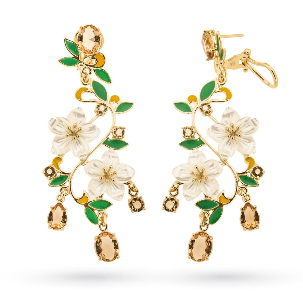 Floral earrings in golden silver with mother of pearl, enamels and gems - GOLDEN CORALS