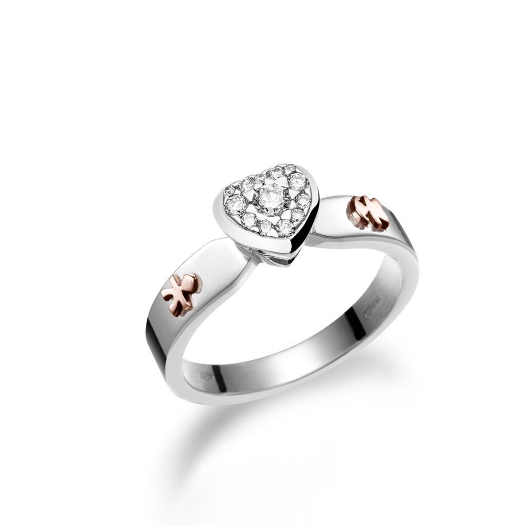 Anello solitario leBebe LBB117 oro bianco bimbo e bimba con diamanti - LE BEBE