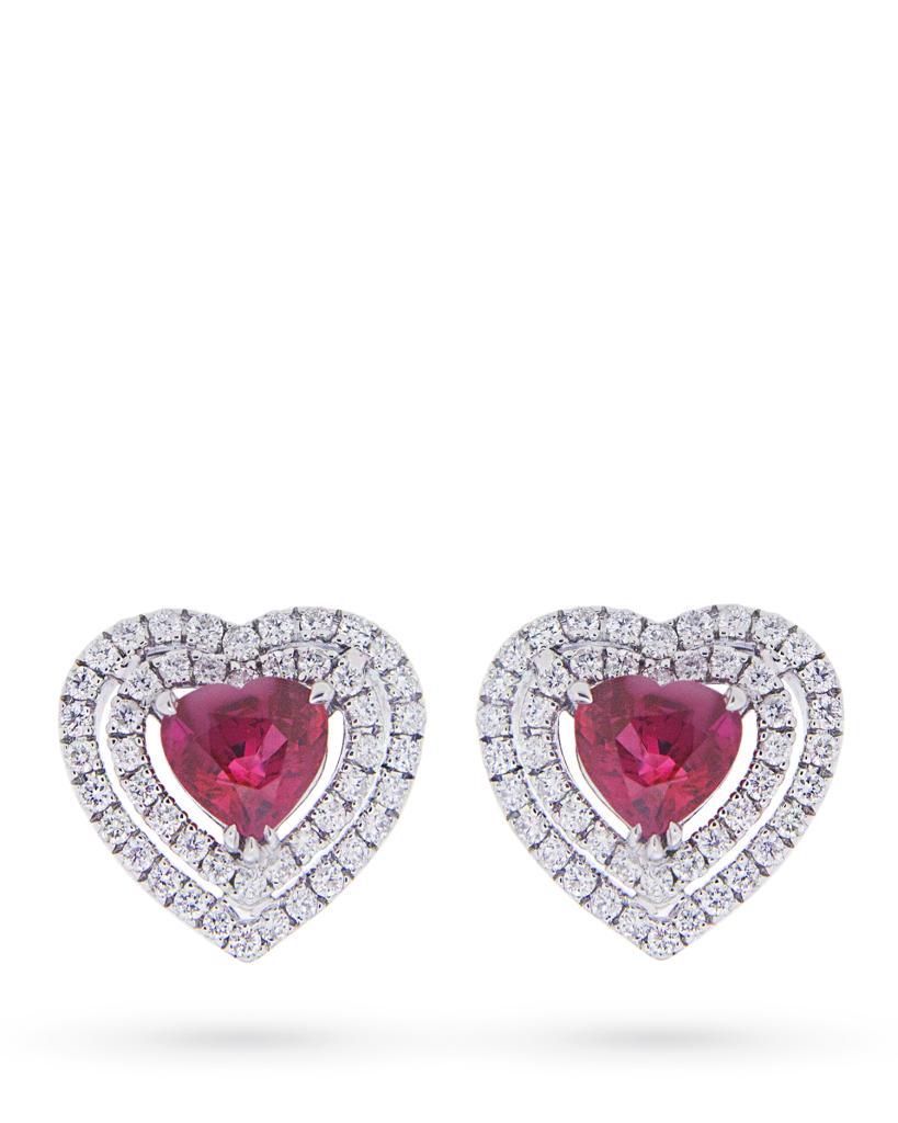 Orecchini in oro bianco con cuori di rubino e contorno di diamanti - MIRCO VISCONTI