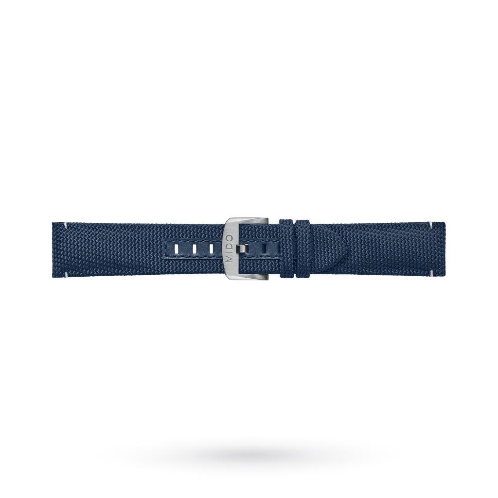 Cinturino orologi Mido tessuto blu impunture bianche 22-20mm - MIDO