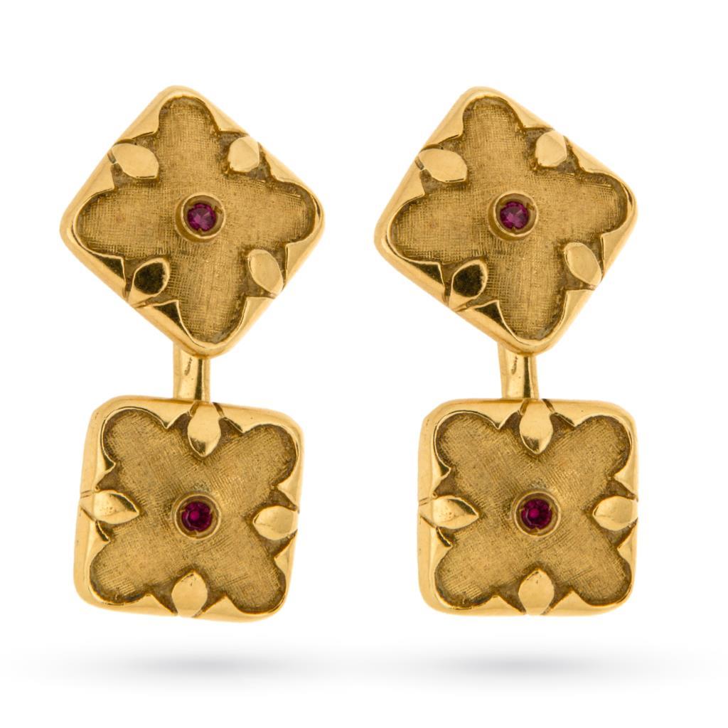 Gemelli da camicia vintage oro con rubini - UNBRANDED