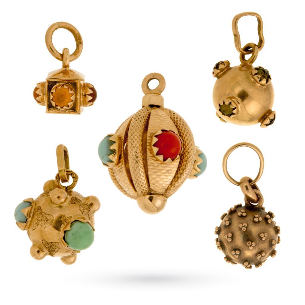 Kit 5 ciondoli mine vintage in oro giallo con gemme - UNBRANDED