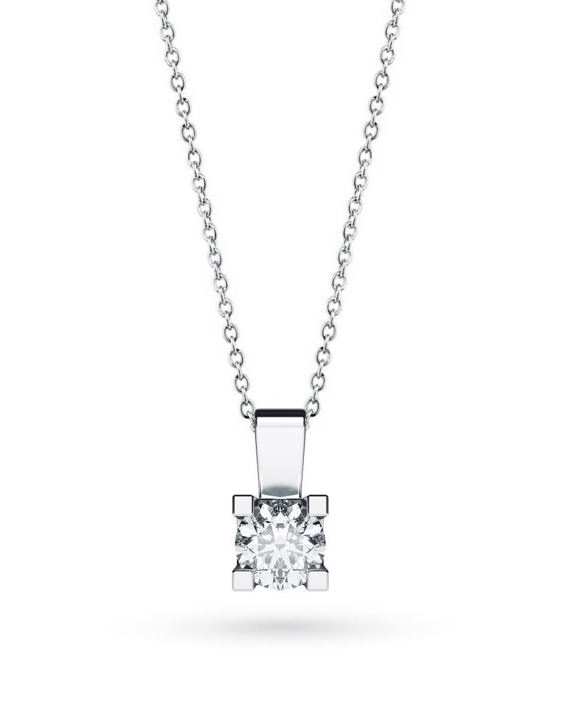 Girocollo punto luce in oro bianco con diamante D VS 0,60ct - CICALA