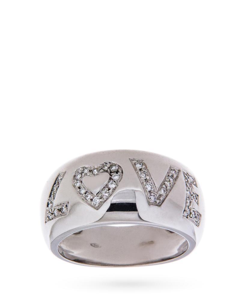 Anello in oro bianco LOVE con diamanti - CICALA