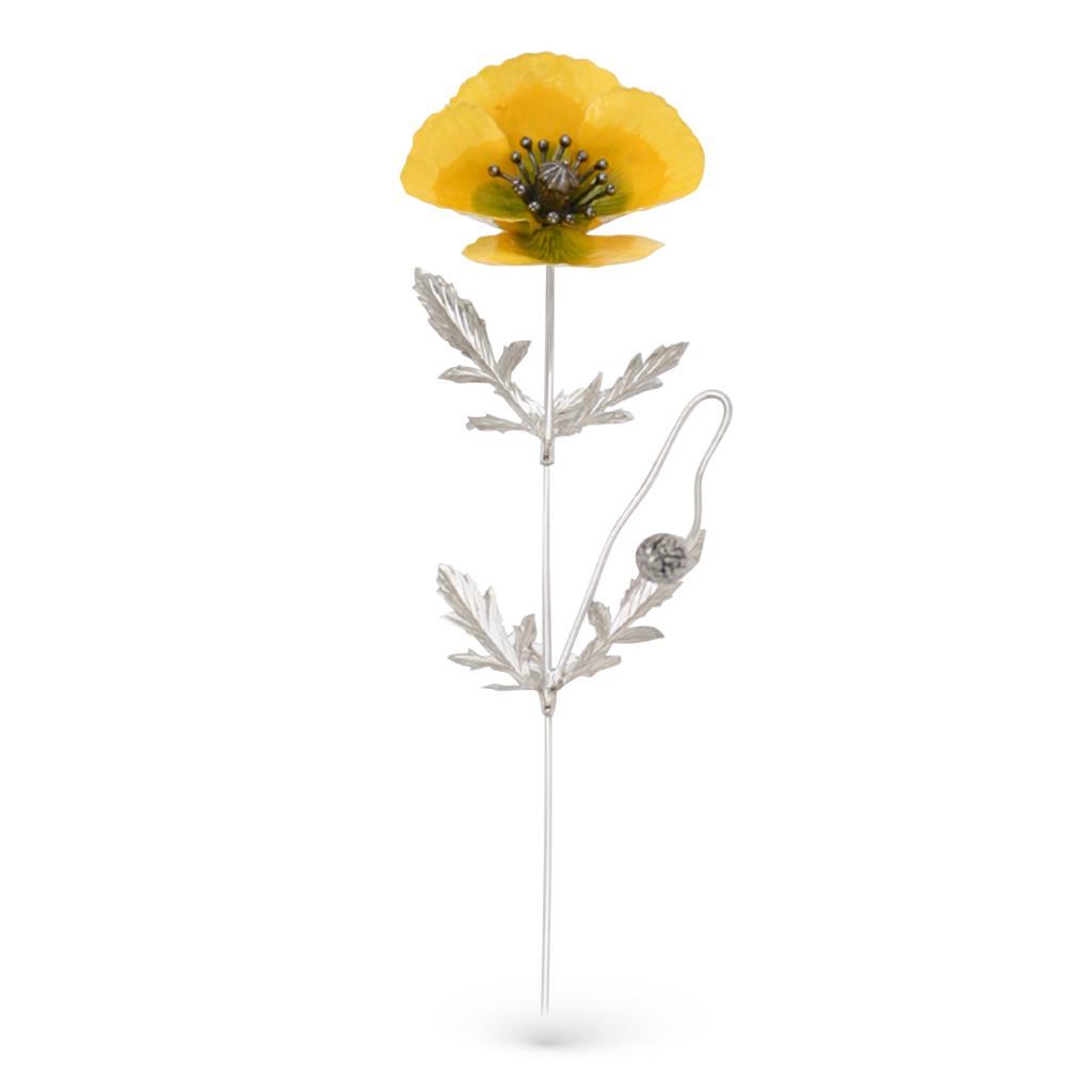 Papavero giallo soprammobile in argento e smalto 23,5cm - GI.RO'ART