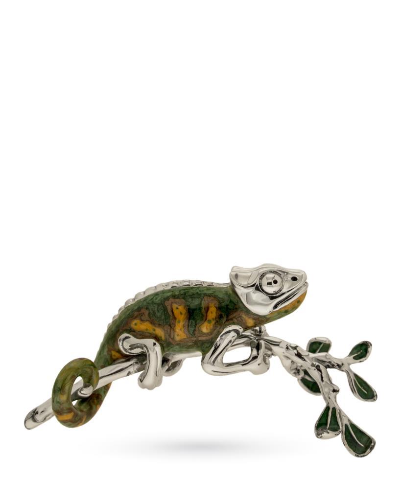 Camaleonte su ramo soprammobile in argento e smalto - SATURNO