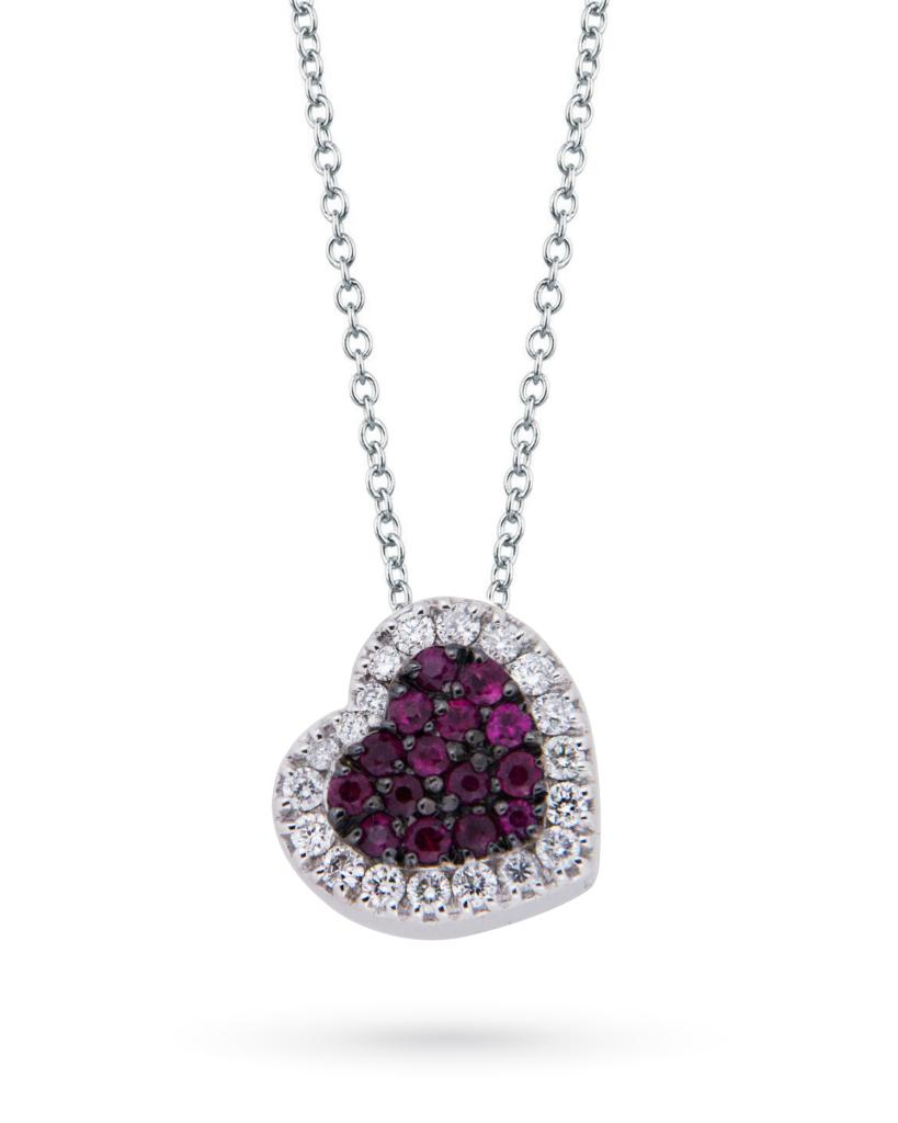 Girocollo in oro bianco a cuore con rubini e diamanti - MIRCO VISCONTI