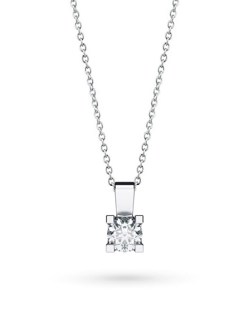 Girocollo punto luce in oro bianco con diamante D VS 0,40ct - CICALA
