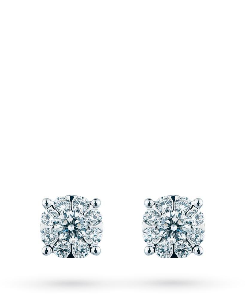 Orecchini a lobo multipietra in oro bianco con diamanti ct 0,84 G VS - MIRCO VISCONTI