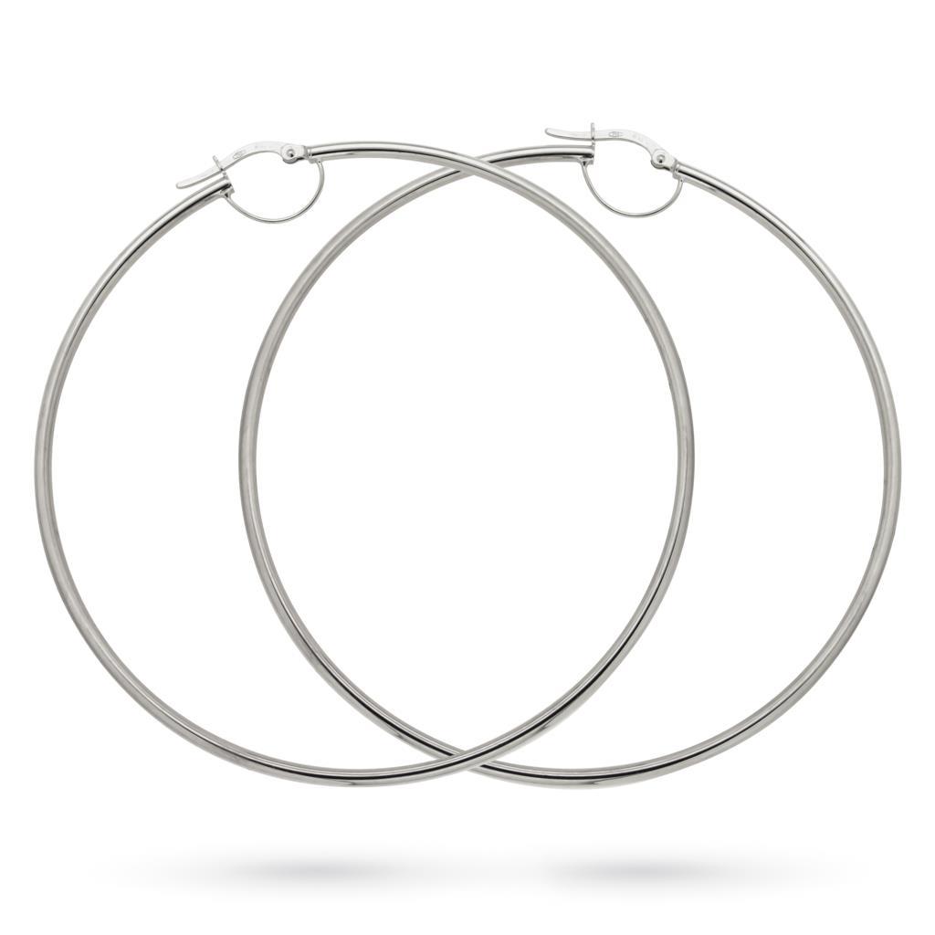 Orecchini a cerchio grande in oro bianco lucido, Ø 7cm - CICALA