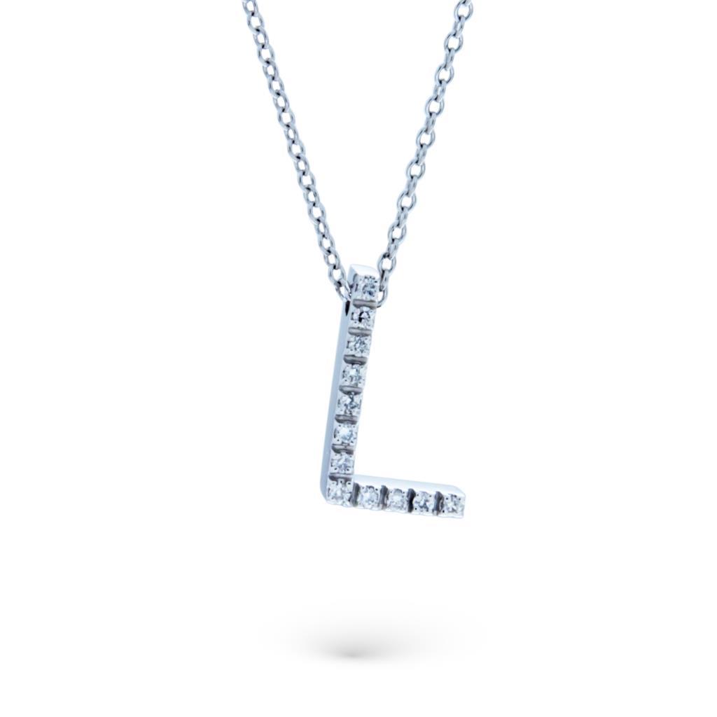 Collana con iniziale L in oro bianco con diamanti - CICALA