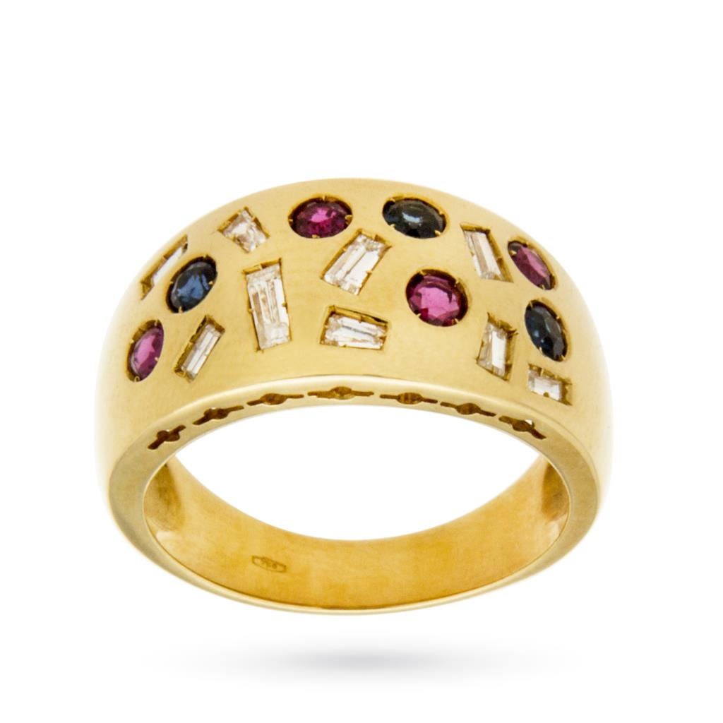 Anello a fascia modello Arlecchino in oro con diamanti, rubini e zaffiri - CICALA