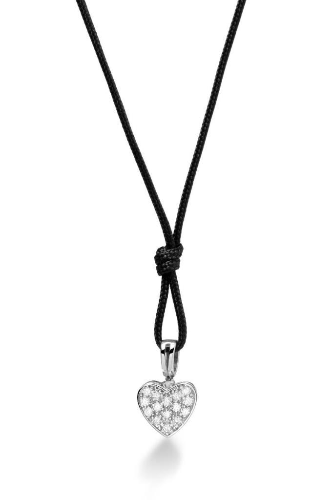 Ciondolo leBebè LBB541/C con cuore di pavè di diamanti - LE BEBE