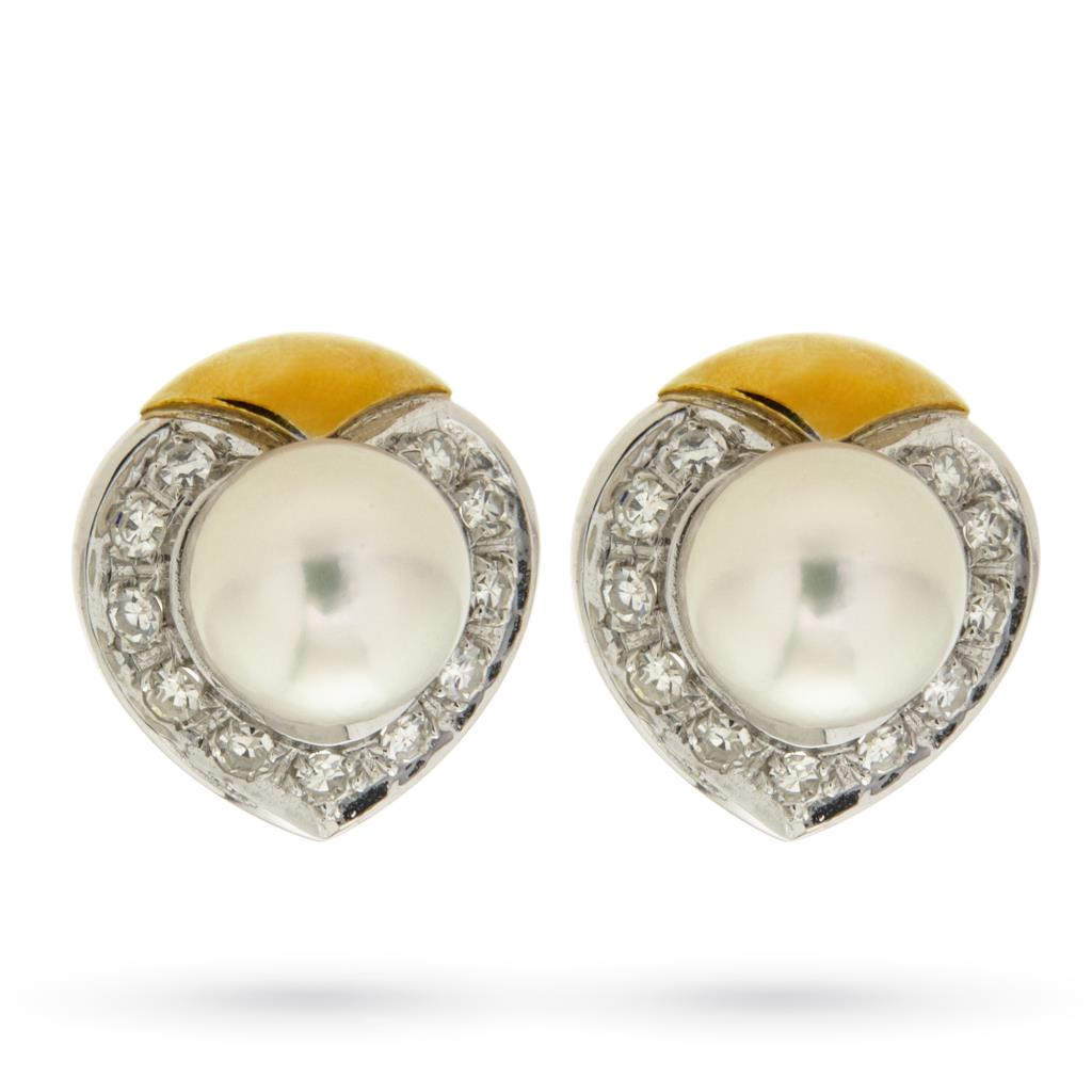 Orecchini a lobo in oro bianco e giallo con perle e diamanti - CICALA