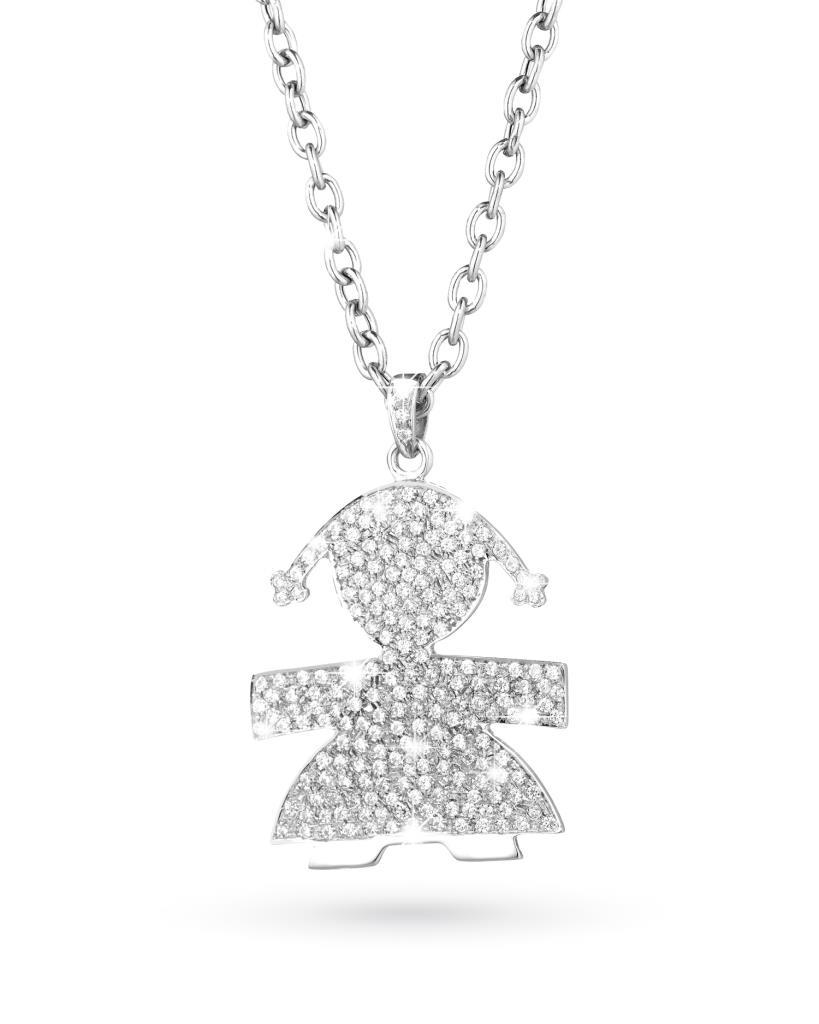 Ciondolo leBebe LBB078 Exclusive bimba in oro bianco con diamanti - LE BEBE