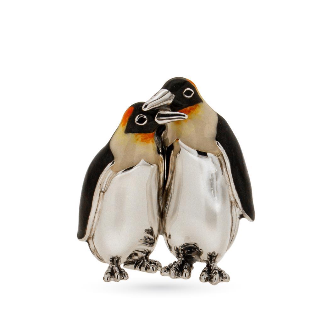 Coppia pinguini soprammobile argento e smalto - SATURNO