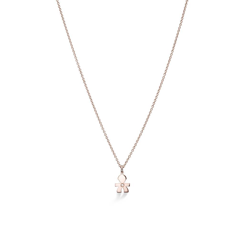 Girocollo leBebe LBB321 con bimbo pendente in oro rosa e diamante - LE BEBE