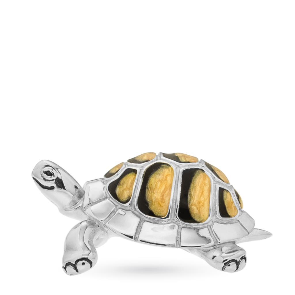 Tartaruga soprammobile in argento e smalto - SATURNO