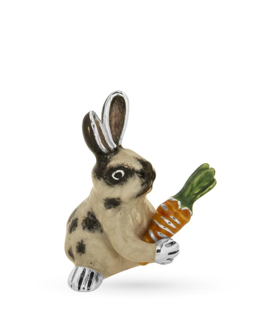 Coniglio medio con carota soprammobile in argento e smalto  - SATURNO
