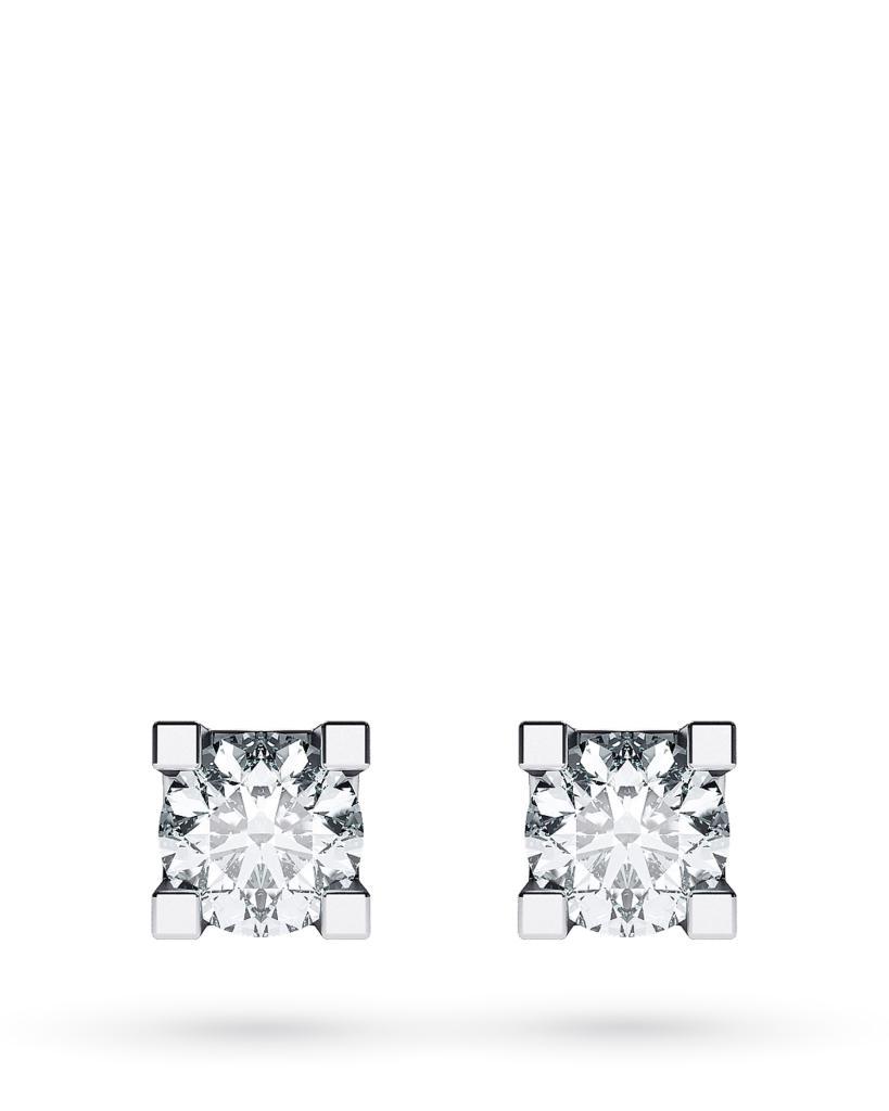 Orecchini a lobo 4 griff in oro bianco con diamanti ct 0,30 G VS - CICALA