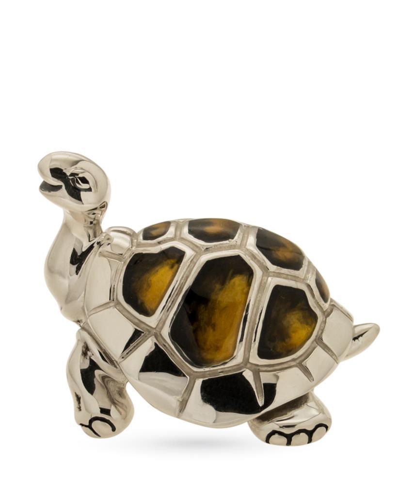 Tartaruga grande soprammobile argento e smalto  - SATURNO
