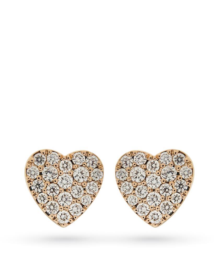 Orecchini a lobo cuoricini in oro rosa con diamanti  - CICALA