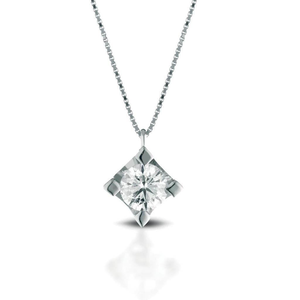 Solitaire necklace gold with diamond 0,30ct - LELUNE DIAMONDS