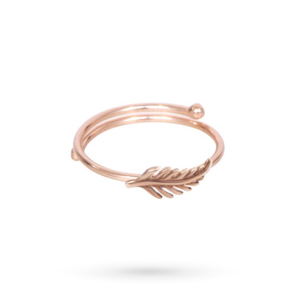Anello Piuma regolabile in argento placcato oro rosa - MAMAN ET SOPHIE