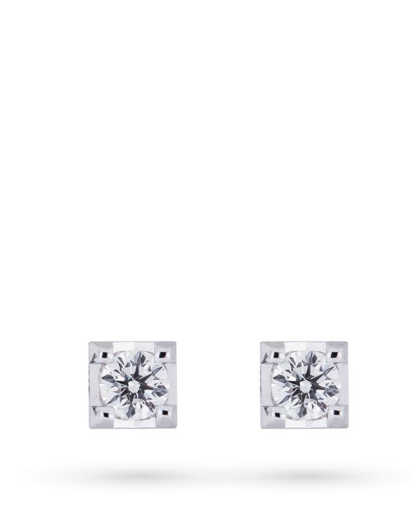 Orecchini a lobo 4 griff in oro bianco con diamanti ct 0,21 F VS - MIRCO VISCONTI