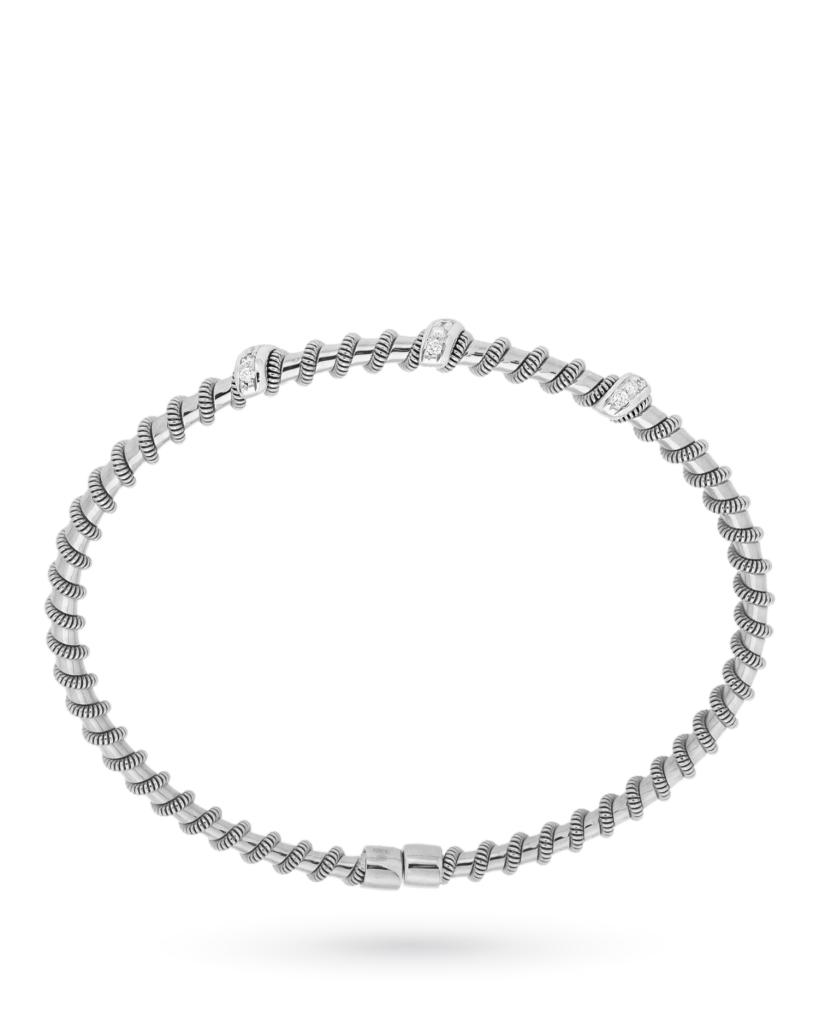 Bracciale rigido aperto in oro bianco con inserti di diamanti 0,16ct G VS - ORO TREND