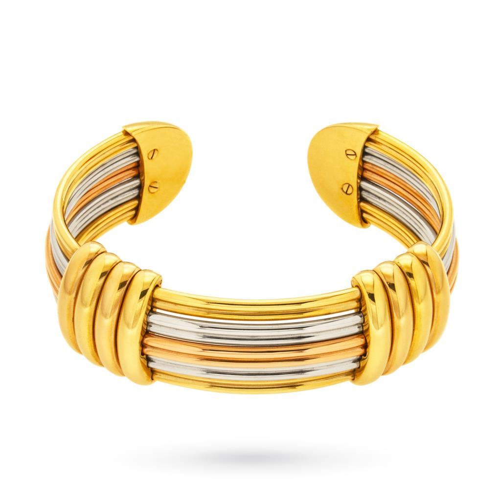 Bracciale rigido multifilo in oro giallo, bianco e rosa 18kt  - UNBRANDED