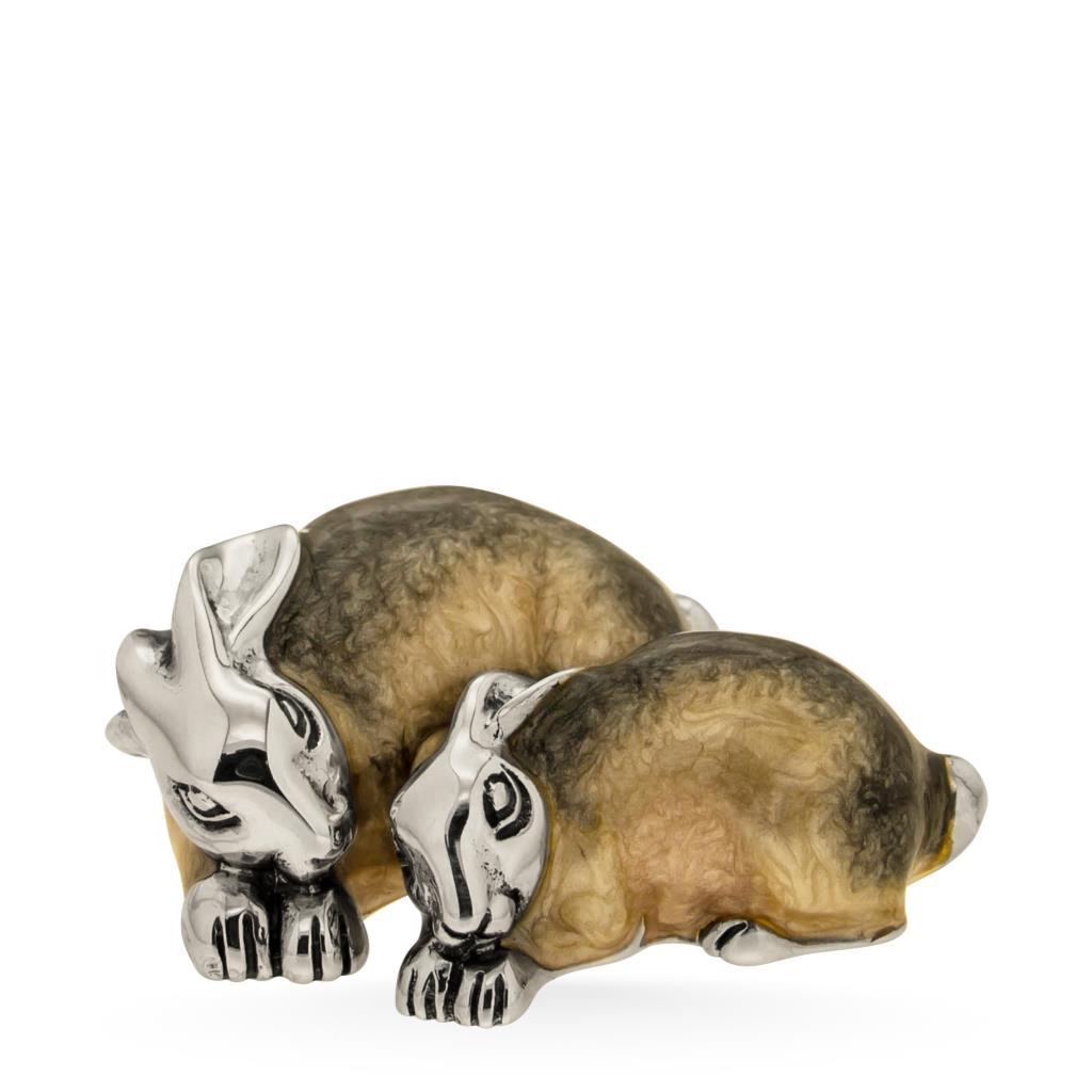 Coppia di conigli sopramamobile in argento e smalto - SATURNO