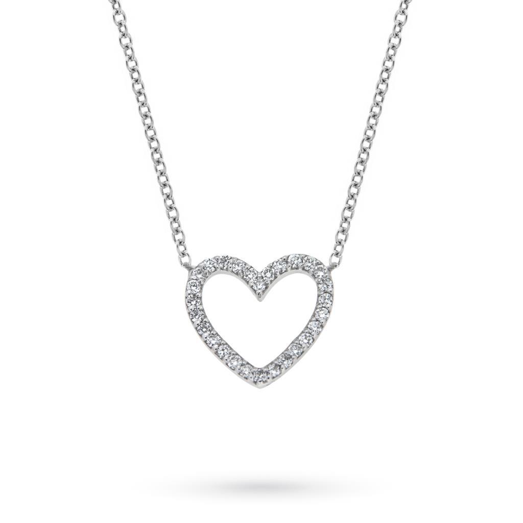 Girocollo in oro bianco con pendente cuore di brillanti  - CICALA