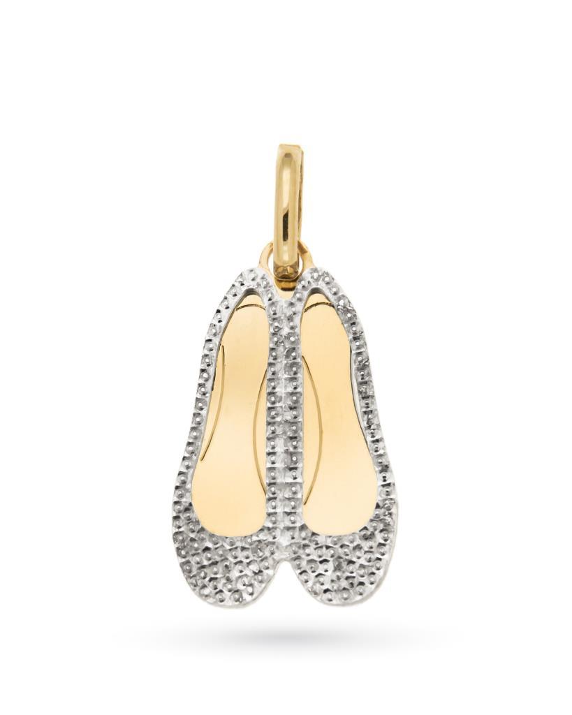 babeb9875b Ciondolo scarpette ballerine in oro giallo e bianco diamantato 18kt -  UNBRANDED