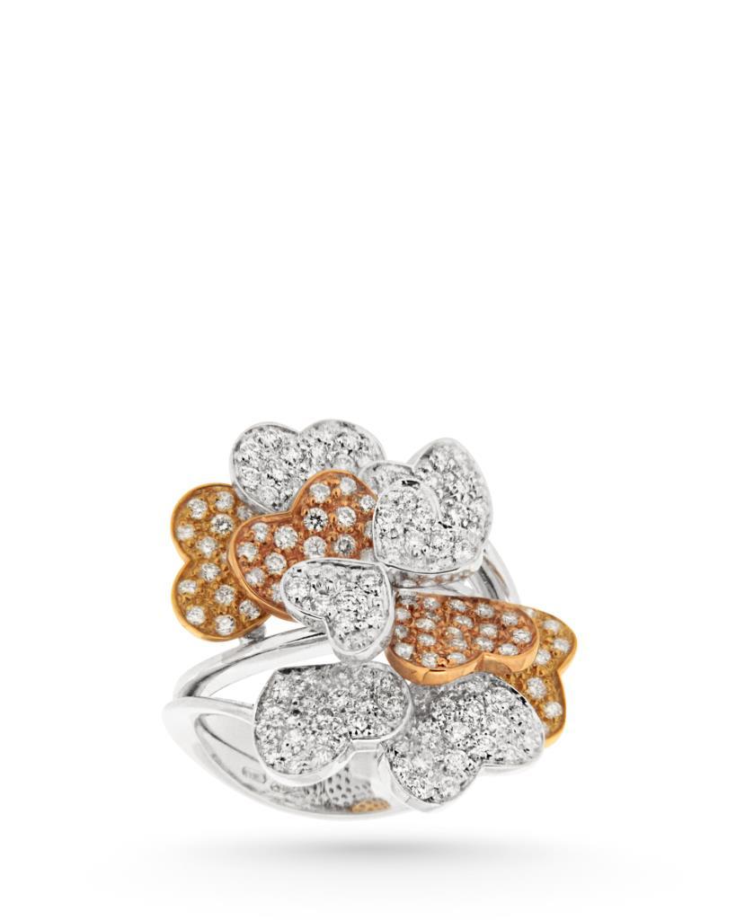 Anello con cuori di diamanti e oro bianco, giallo e rosa - CICALA