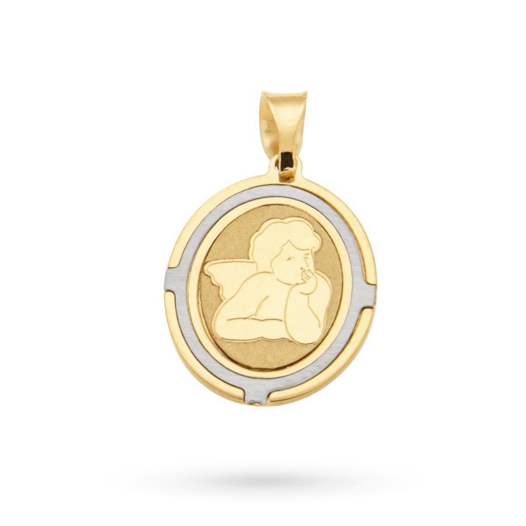 Ciondolo medaglia con angioletto in oro bianco e giallo 18kt - CICALA
